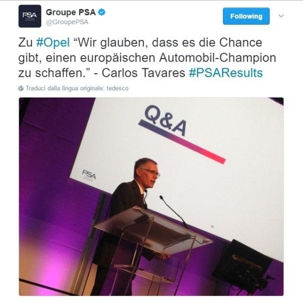 Psa-Opel, Tavares: fusione è soluzione